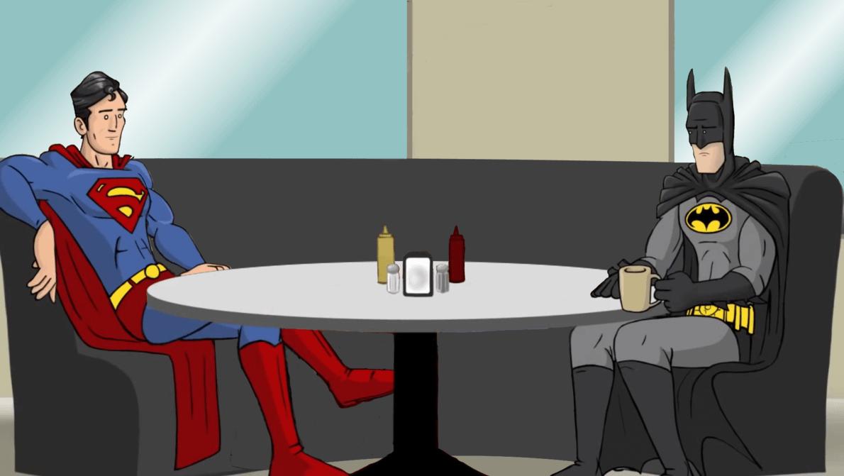 Super Man et Bat Man en train de boire un café