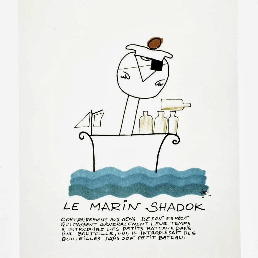 Le marin shadok est sur son bateau avec plein de bouteilles. Elles sont toutes vides.