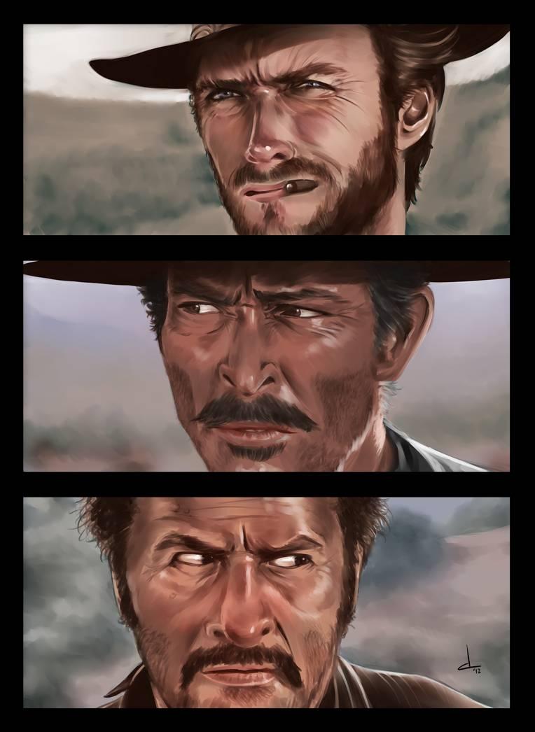 Blondin, Sentenza et Tuco et se jaugent lors de leur mythique impasse mexicaine concluant le film le Bon, la Brute et le Truand.