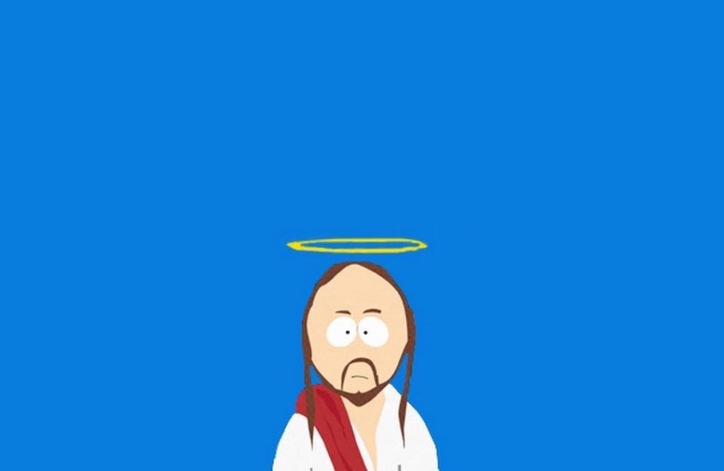 Portrait de Jesus façon South Park sur fond bleu.