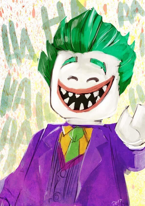 Le Joker dans sa version Lego rigole et semble heureux. Auteur : Gaberoseart source : https://www.deviantart.com/gaberoseart/art/lego-joker-668748211
