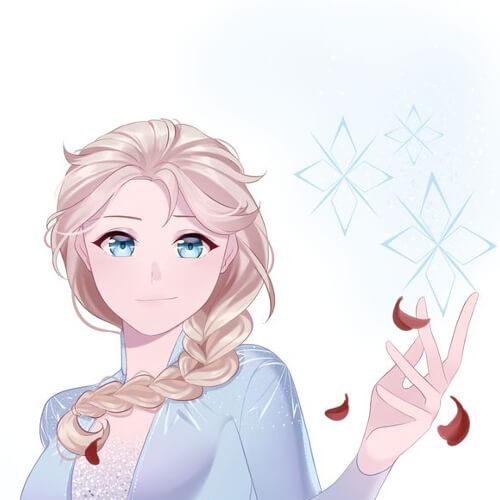 Kawai Elsa de Frozen 2, style manga