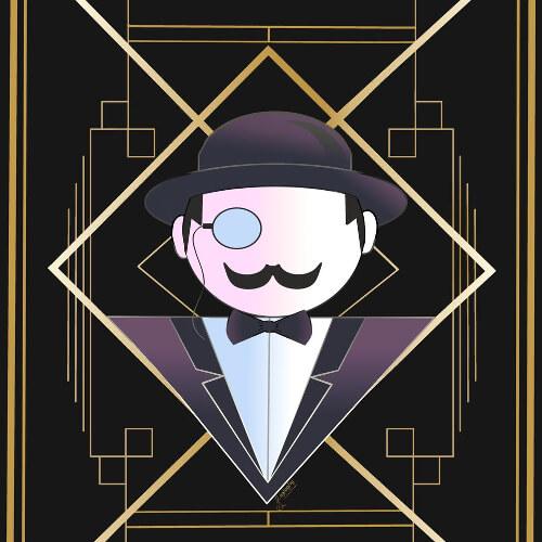 Hercule Poirot stylisé dans un symbole