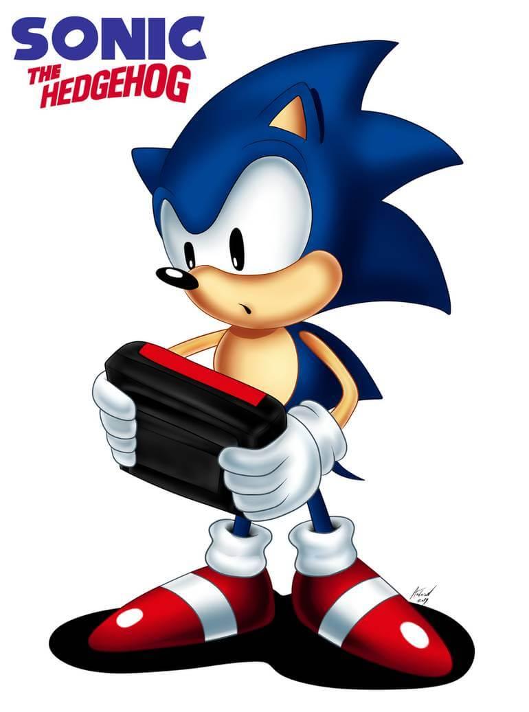 Sonic Classic au prise avec une console portable, par AndersoncTH, DeviantArt.