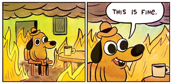 """Meme: This is fine - image virale internet. Dans une maison en feu et en enfumée, un chien anthropomorphisé, vêtu d'un chapeau et assis devant une tasse, s'exclame calmement : """"Tout va bien"""""""