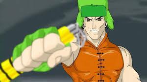 Dessin montrant le ninja juif Kyle refusant d'abandonner son nunchaku tout neuf qu'il vient d'acheter.