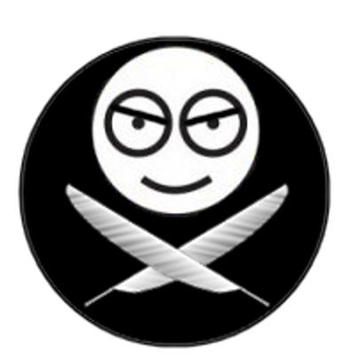 Logo de l'Odieux connard : l'icône de Sam modifiée pour lui donner un air malsain, surplombant deux plumes, sur fond noir.