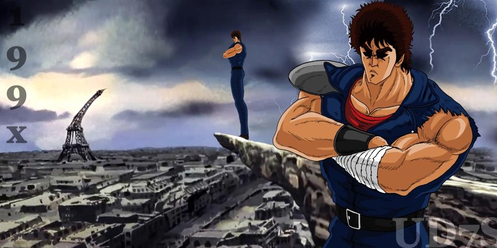 Ken le Survivant de l'enfer, héros d'un manga post-apocalyptique, pose les bras croisés au sommet d'une falaise, sa silhouette se découpe sur un ciel orageux, Paris est en ruine.