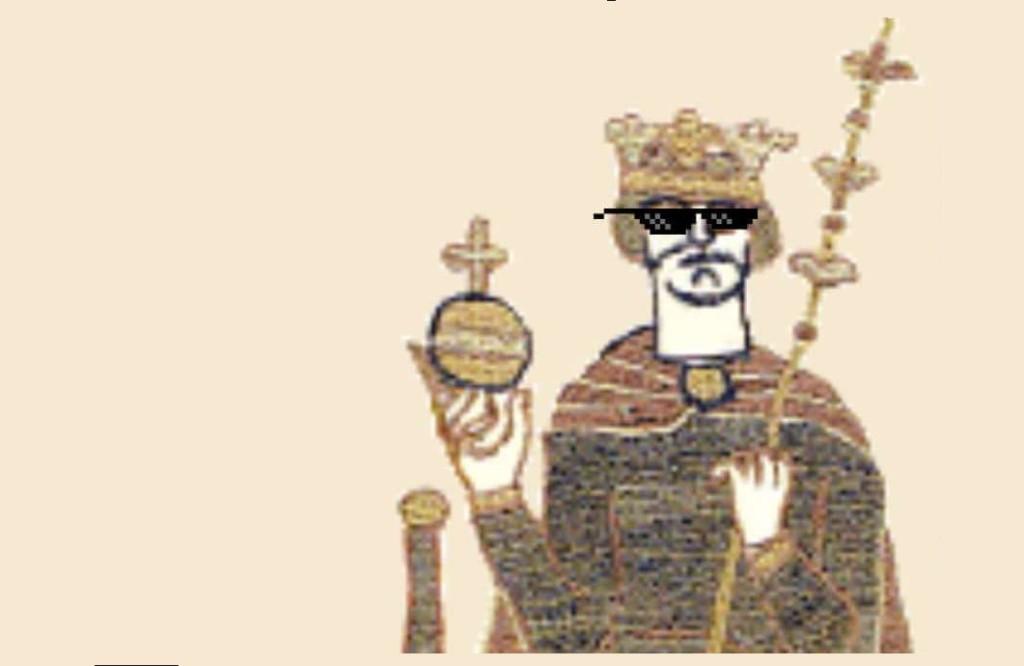 Une image de roi tiré de la bannière médiévale de Bayeux agrémenté de lunettes de soleil pixelisées dans la mouvance Thug Life