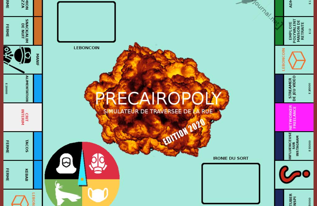 Inspiré du célèbre Monopoly. Depuis la case départ Pôle Emploi, le joueur fait le tour du plateau en essayant de gagner sa vie. Il pourra travailler au noir, en intérim, donner de sa personne dans du porno amateur, partir en formation, dealer, se faire tabasser en manif ou se rendre sur le bon coin. Les plus chanceux deviendront youtubeur, pizzaiolo en camion ou livreur sous-traitant. Dans cette édition 2020, la pandémie de la covid sévit, mais aussi les attentats et les réformes du gouvernement ! Traverser la rue n'a jamais été aussi difficile !