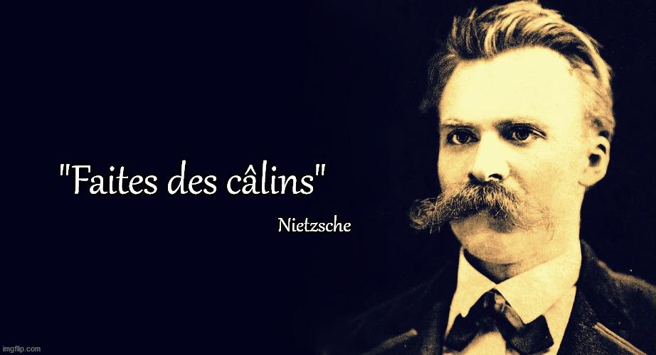 """Fausse citation du philosophe Nietzsche : """"Faîtes des câlins"""""""
