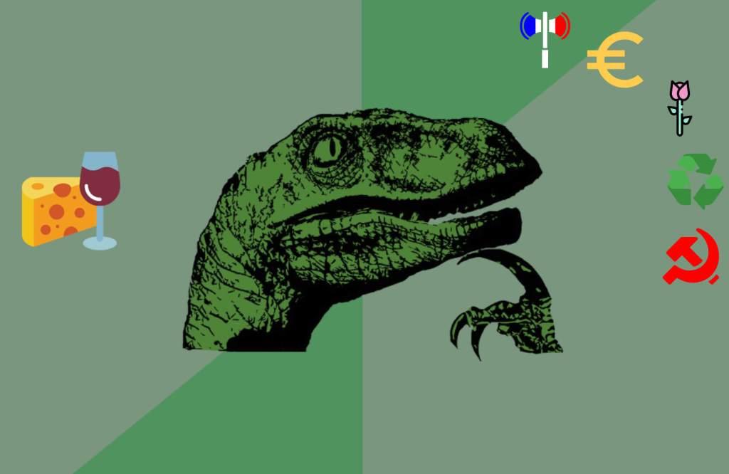 meme philo raptor agrémenté d'icones politique
