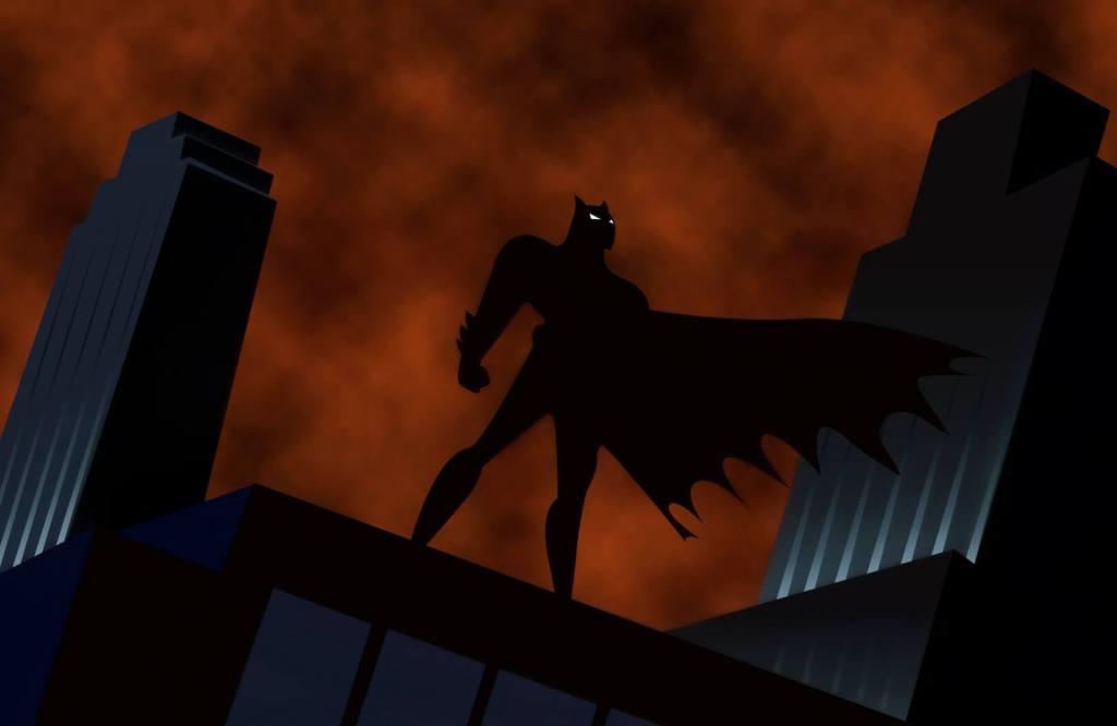 batman contemplant Gotham du haut d'un immeuble - animé 90